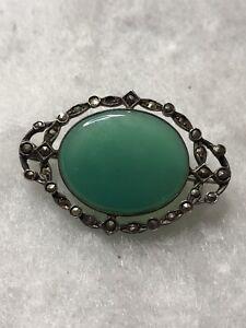 Antique Silver Brooch Victorian 1900s Marcasite Green Stone C Clasp Retro Old