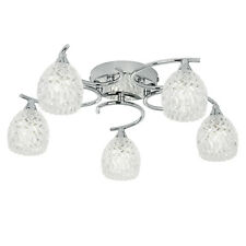 Endon Boyer ceiling light 5x 33W Chrome effect & clear glass with pattern detail