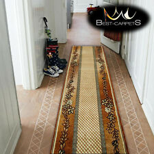Thick Hall Runner Heat Set PRIMO H239 brown Width 70-140cm extra long Soft RUGS