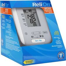 Deluxe Digital Blood Pressure Monitor ReliOn BP200 Medical Testing Auto Inflate
