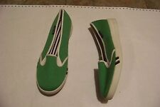 womens lands end green canvas slip on tennis shoes size 6