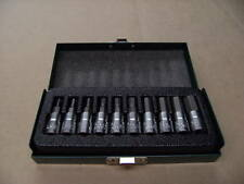 "HEX BIT SOCKET SET Cr Van 10Pc 1/4"" Inch Drive METRIC 2 mm - 10 mm in Metal Case"