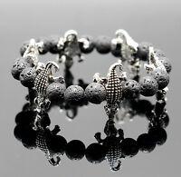 Charm Men's Lava Rock Beaded Bracelet Lucky Yoga Energy Wrist Crocodile Bracelet
