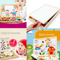 Kids Magnetic Puzzle Paint Drawing Board Wooden Animal Shape Educational Toy  f