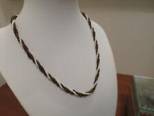VINTAGE SEED GLASS BEADS, 1940'S, TWIST NECKLACE. GLISTENING HAND MADE