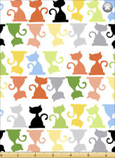 Susybee's Purrl, the Cat Silhouette White 100% cotton fabric by the yard