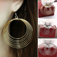 LONG BIG DISC CIRCLE DANGLE DROP HOOP EARRINGS GOLD SILVER BLACK UK SELLER