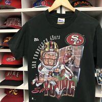 Steve Young San Francisco 49ers T Shirt Boys Large Youth NFL Football Black 90s