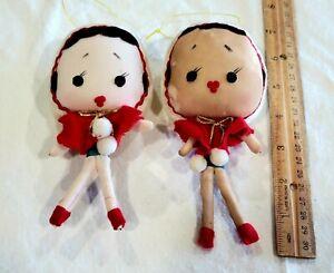2 VINTAGE JAPAN CHRISTMAS DOLL PIXIE Fabric ORNAMENTS