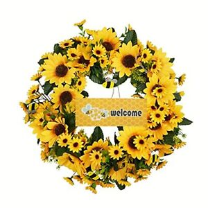 18'' Artificial Sunflower Wreath for Front Door Spring Summer Fall Large