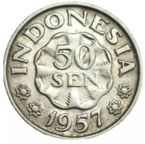 1957 INDONESIA 50 SEN COPPER-NICKEL VINTAGE COIN KM 10.1 XF+