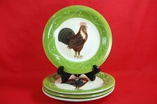 """ROOSTER STRUT COLLECTION Baum Bros SALAD PLATES 8"""" Set of 4 Style Eyes"""
