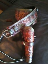 Mexican Hand Tooled Leather holster gun belt 40 Cal .44/45 Western/cowboy -right