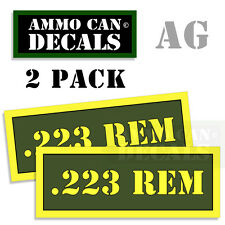 223 REM Ammo Can Box Decal Sticker bullet ARMY Gun safety Hunting Label 2pack AG