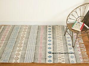 Indian Cotton Area Runner Floor Carpet Beach Hand Block Reversible Print Rag Rug