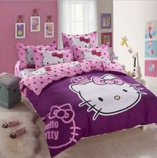 Purple Princess Hello Kitty Kids Bedding Duvet Cover Bed Sheet twin full queen