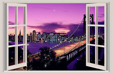 California San Francisco Ocean Bridge Beach Window Wall Sticker Mural 36x25