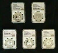 2018 - 2020 Niue Trade Dollar Silver 5-coin Set | US/GB/CH/JP/FR | NGC PF70UC