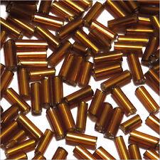 Perles de Rocailles Tubes en verre Trou argenté 4x2mm Marron 20g