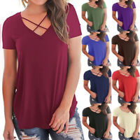 Womens Summer Short Sleeve T Shirt Casual V Neck Tops Plus Size Tank Top Blouse