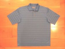 Ex Cond MENS XL Blue Striped GOLF POLO SHIRT by KIRKLAND Signature Collection