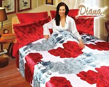 Diana Queen Bed Silk Satin Bedding Floral Duvet Cover Set