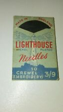 Lighthouse War Time Package Sheffield Nickel Plated Embroidery Needles England