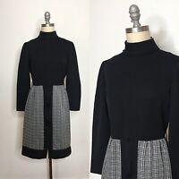Vintage 70s Jerrie Lurie Plaid Polyester Dress Size Medium