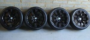 "Genuine BMW MV2 18"" Alloy Wheels: GLOSS BLACK +TYRES F22 F23 F87 1 & 2 SERIES"