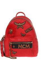 MCM Small Stark Insignia Leather Backpack with Genuine Fox Fur Trim, MSRP $2,100
