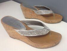 COCONUTS Silver Metallic Jewel Accented Platform Cork Wedge Sandal Sz 9 B4892
