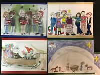 2017 Adventures in Odyssey blank Christmas cards notecards set of 4 drawings