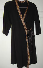 LOVE TO LOUNGE BLACK JERSEY WITH CHEETAH SILK PRINT TRIM size 16