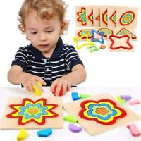 New Wooden Geometry Shape Block Montessori Early Educational Puzzle Learning Toy