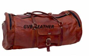 Vintage Retro Men Genuine Leather travel duffel weekend bag Extra Space luggage