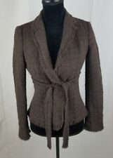 Moschino Cheap&Chic women 4 brown fringe trimmed wool tied front blazer Italy