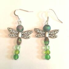 "WHIMSICAL 2"" DRAGON FLY GOLD TONE & GREEN CRYSTALS W/SURGICAL STEEL EAR WIRE#157"