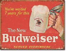 The New Budweiser TIN SIGN beer ad metal poster wall art vtg home bar decor 2019