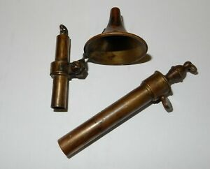 ANTIQUE BRASS POWDER MEASURE W/ FUNNEL Kuehn Parts