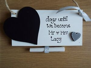 Personalised wedding countdown chalkboard sign plaque engagement gift Mr & Mrs