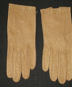 VINTAGE MARSHALL & COMPANY BEIGE LEATHER GLOVES WOMEN'S SIZE 6 1/2