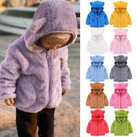 Kids Baby Warm Girls Boys Flannel Winter Fleece Jackets Sweatshirt Hooded Coats