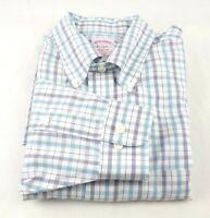 Brooks Brothers Men's 1818 Madison Shirt Large L Blue Check Non Iron