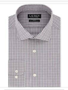 NWT Ralph Lauren Dress Shirt Men's Non Iron Slim Fit Pl Grey Stretch 17 34/35
