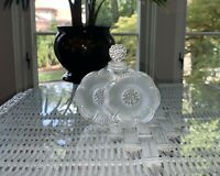 LALIQUE Deux Fleurs /Two Flowers Crystal Perfume Bottle with Stopper-Signed