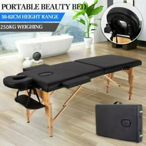 Black/Purple Wooden Portable Massage Table Fold Beauty Therapy Bed Chair Waxing