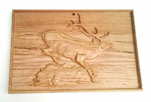 Wooden wall plaque,hand  carving, Wall hanging home decoration , running stag
