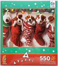 CEACO® 550pc AVANTI • PUPPIES IN CHRISTMAS STOCKINGS • PUZZLE Jig Saw USA MADE