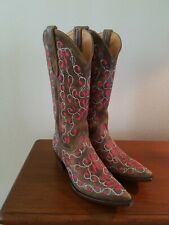 Old Gringo Distressed Brown Boots w/Red and White Embroidery Women's Size 6 1/2B