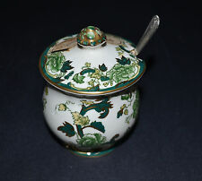 MASON'S IRONSTONE GREEN CHARTREUSE LIDDED PRESERVE POT WITH LABEL AND SPOON